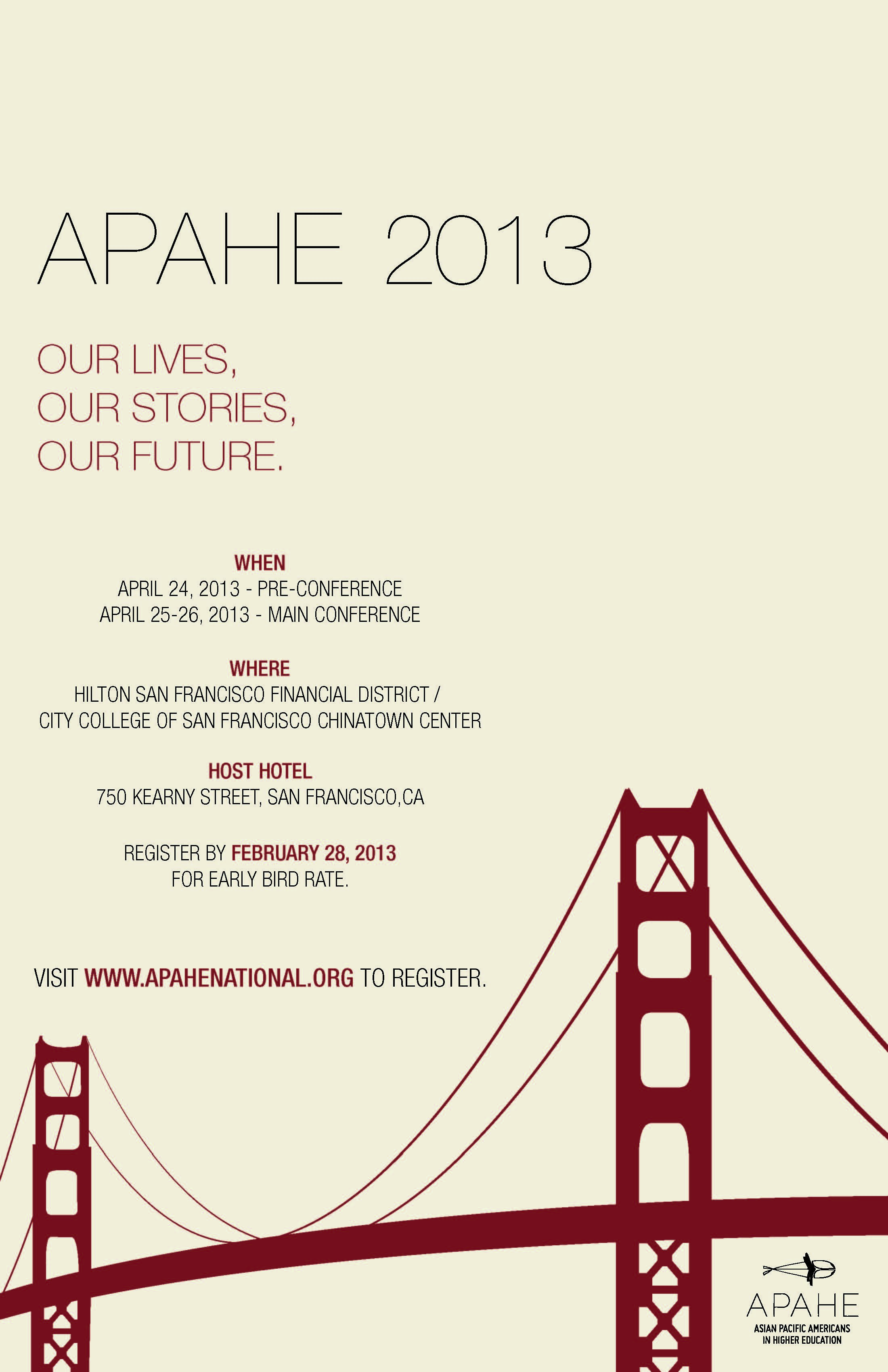REGISTER NOW FOR APAHE 2013 CONFERENCE – EARLY BIRD RATE THROUGH FEBRUARY 28, 2013
