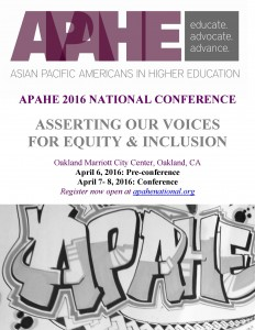 ONLINE REGISTRATION NOW OPEN FOR THE APAHE 2016 CONFERENCE APRIL 7-8, OAKLAND, CA