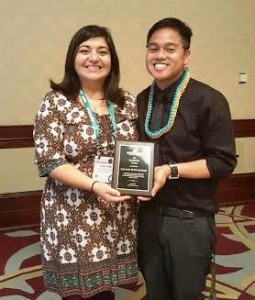 LELAND SIMPLICIAN0, APAHE PLANNING COMMITTEE MEMBER, AWARDED NASPA APIKC NATIONAL RISING STAR AWARD